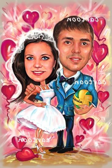 Свадебный шарж с оригинальным сюжетом в Липецке!