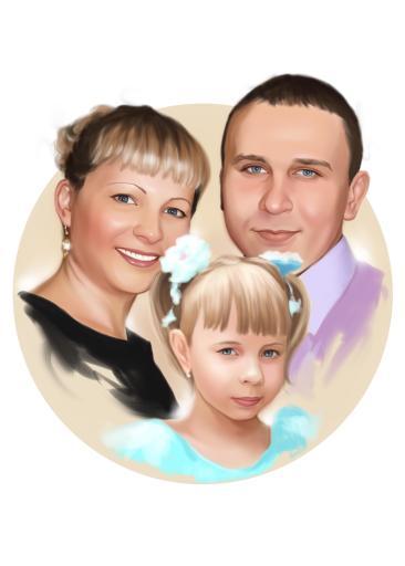 Семейный портрет по фото на холсте в Липецке — правильный подарок!